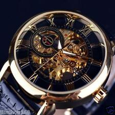 Luxury UK Mens Skeleton Sport Stainless Steel Automatic Mechanical Wrist Watch