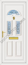 Carter Three UPVC Front Door, Frame & Letterbox With Coloured Maryland Glass