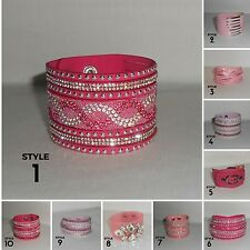 Bracelet,Cuff,Pink,Lilac,Crystals,Leather Style...Adjustable Bracelet /Choker