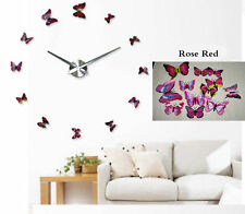 Living Decor Art Watch Colorful Butterfly Mirror Sticker Large DIY 3D Wall Clock