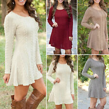 Sexy Women Ladies Long Sleeve Knitted Sweater Jumper Dress Tunic Party Dress Top