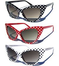 Vintage Style Sexy CAT EYE SUNGLASSES Retro Hipster Sunnies POLKA DOT FRAME