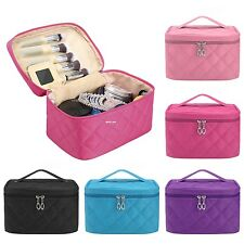 Women Plaid Makeup Cosmetic Bag Portable Travel Zipper Toiletry Case With Mirror