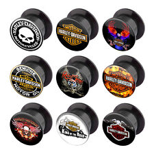 Pair of Harley Davidson Logo Acrylic Plugs Screw Fit Tunnels Ear Gauge 4G-1""