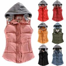 Womens Winter Warm Cotton Hooded Sleeveless Vest Coat Jacket Waistcoat 7 Colors