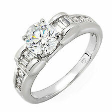 EGL Certified Diamond Engagement Ring 1.62 Carat Round & Baguette Antique Style