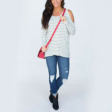 Womens Strip T-Shirt Loose Long Sleeve O-neck Shoulder Hollow Casual Blouse Tops