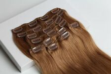 8pcs Remy Human Hair Clip In Real Human Hair Extensions Golden Brown 16''~26''