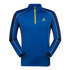 Mens Outdoor Hiking Quick Dry Anti-UV Long Sleeve Sport T-shirt 1/4 Zip Pullover