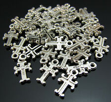 FREE Lot 100PCS Crafts religion cross Tibetan silver Findings Pendant Beads 11mm