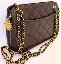 CHANEL AUTHENTIC Vintage Handbag Gold Chain Quilted Bag Black
