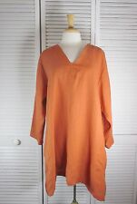 L/S Autumn Flax Linen Tunic Top in 14 Colors  1X 2X 3X 4X by Blue Fish Red Moon