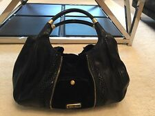 Jimmy Choo, Mandah Bag, Black Leather And Black Suede, Expandable