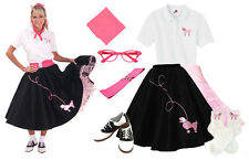 Hip Hop 50s Shop Womens 8pc Black w/ Pink Poodle Skirt Halloween Costume Set