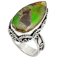 Natural multi color ammolite (canadian) 925 sterling silver ring size 7 k6581