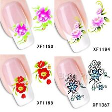 1Sheet Red Flower Pattern Manicure Nail Art Water Decals Transfer Stickers