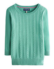 Joules Pistachio Green Cable Knit Cotton Cleo Jumper BNWT size 14.