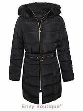 Ladies Womens Quilted Padded Puffer Parka Coat Fur Hooded Belted Winter Jacket