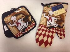 NWT 3pc FAT CHEF Oven Mitt Pot Holders hanging loops brick pizza checked