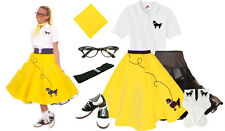 Hip Hop 50s Shop Womens 8 pc Yellow Poodle Skirt Halloween Dance Costume Set