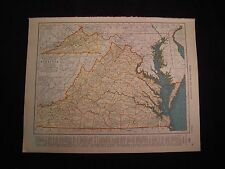 Vintage 1940 Color Map of Washington or Virginia from Colliers World Atlas