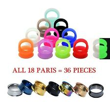 LOT 36PCS Ear Gauge-Silicone Ear Tunnel Earskin&Stainless Steel Screw Ear Plug