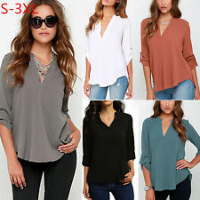 Women Summer Casual Long Sleeve V Neck Chiffon Blouse Solid OL Shirt Tops S-XXXL