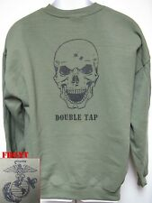 USMC SWEATSHIRT/ SKULL DOUBLE TAP/ MILITARY OD GREEN COLOR/ NEW