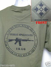 4th ID T-SHIRT/ IRAQ COMBAT OPS T-SHIRT/ MILITARY/  4TH INFANTRY DIV/  NEW