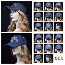 Denim Baseball Cap Vintage Jean Hat Plain Adjustable Ball Caps Unisex NY LA SF