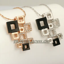 A1-P036 Fashion Geometric Patterns Necklace Pendant 18KGP Rhinestone Crystal