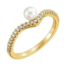 Pearl and 1/5 CTW Diamond Ring 14K Yellow Gold