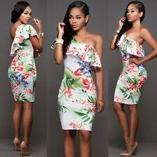 Womens Sloping Shoulder Ruffled Floral Gown Evening Party Bandage Bodycon Dress