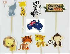 12 x Cute Jungle Animals CUPCAKE CAKE TOPPERS Party Jelly Cup *Superb Quality*