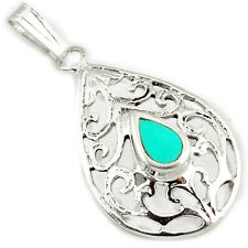 925 sterling silver green turquoise enamel pear shape pendant jewelry a11700