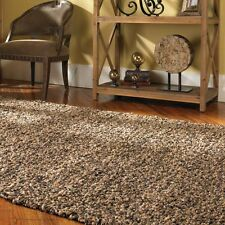 Large Leather Area Rug 8 x 10 Brown & Natural Jute Carpet