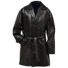 New Mens Black Genuine Leather MID Length TRENCH COAT w/ Belt Long Over Jacket