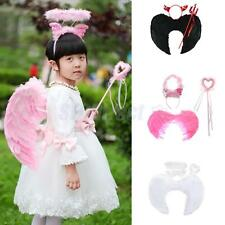 Kids Feather Angel/Devil Wings Halo Magic Wand Halloween Fancy Dress Photo Props