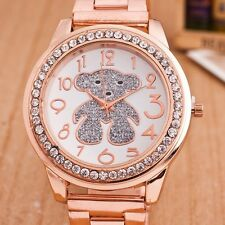 Luxury Women Ladies Stainless Steel Bear Quartz Watch Rhinestone Crystal Dial