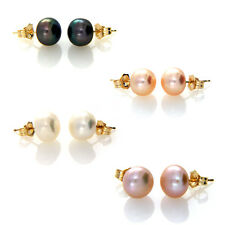 Solid 14ct Yellow Gold 8-9mm Genuine Freshwater Pearl Stud Earrings 14k Posts