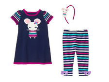 NWT Gymboree BACK TO BLOOMS Sz 3T 4T Mouse Sweater Dress Leggings & Headband