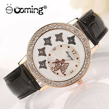 Women Watches Crystal Leather Butterfly Stainless Steel Analog Quartz Wristwatch