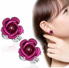 Girls Women Jewelry Elegant Rose Flower Crystal Rhinestone Stud Earring 1 Pair