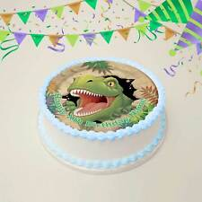 20cm Round Dinosaur Edible Image Icing or Wafer Cake Topper Kids Birthday