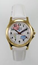 Nurse Mates Watch Unisex Stainless Steel Gold White Leather Battery 24hr Quartz
