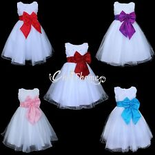 Baby Girls Bow Dress Flower Princess Sleeveless Formal Party Wedding Bridesmaid