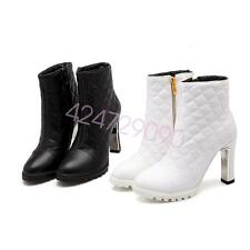 NEW Womens High Heel Ankle Boots Shoes Round Toe Riding Biker AU Size YDXS0161