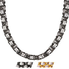"316L Stainless Steel Gold Plated 9mm Chunky Chain Necklace Men's Jewelry 18""-26"""