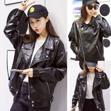 Womens Ladies Black PU Leather Loose Plus Size Suit Collar Jacket Trench Coat