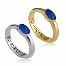 Strength Engraved Letter Blue Sky Charm Poesy Ring sz 7 Men Woman Jewelry